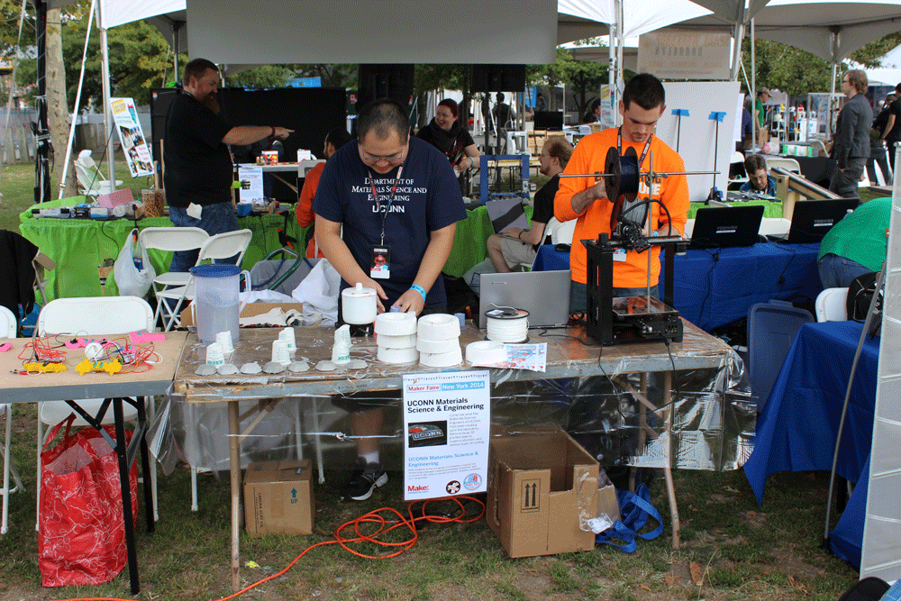 The exhibit setup at Maker Faire, showing the maker community how to replicate printed objects in ceramic and metal via slip casting and investment casting.