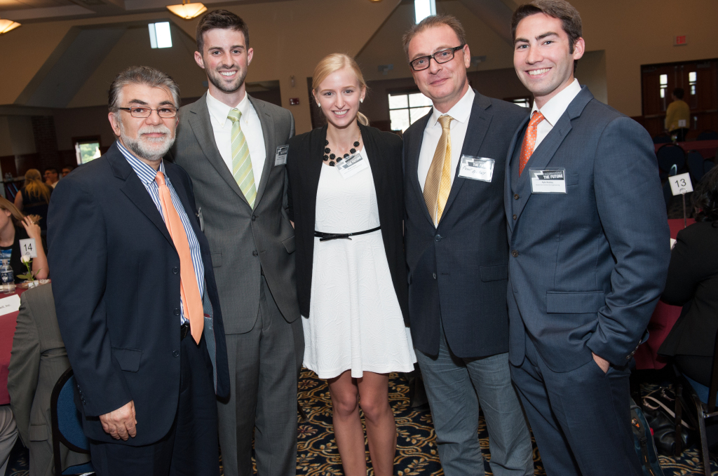 (Left to right) SoE Dean Kazem Kazerounian, Stephen Ecsedy, Aliya Carter, MSE Department Head Pamir Alpay, Kyle Keeley