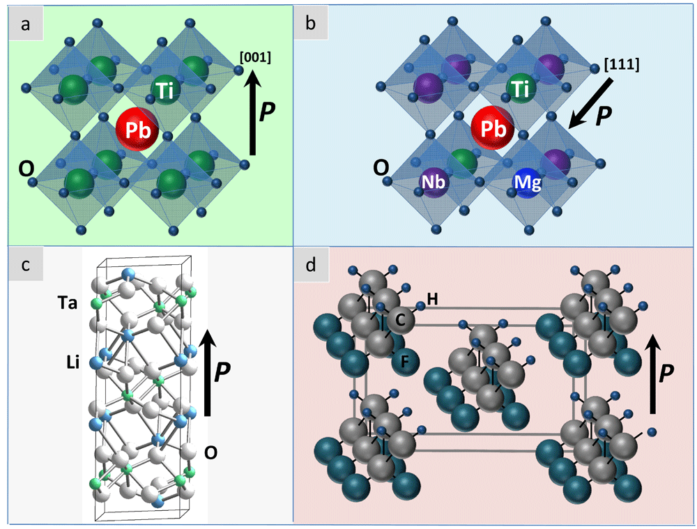 Crystal structures of four most common pyroelectric materials: A. PbTiO3, B. x·Pb(Mg1/3Nb2/3)O3-(1-x)·PbTiO3 (PMN-PT) in the rhombohedral phase, C. LiTaO3, and D. polyvinylidene difluoride(PVDF), -(C2H2F2)n-. The direction of the spontaneous polarization is also shown.