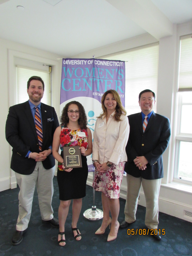 (Left to Right) Dr. Daniel Burkey (Associate Dean for Undergraduate Education and Diversity and CBE Professor), Alexandra Merkouriou (Outstanding Woman Scholar of the School of Engineering), Kathleen Holgerson (Director of the Women's Center), and Dr. Mun Choi (Provost and Executive Vice President for Academic Affairs)