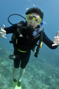 Greg scuba diving in the Great Barrier Reef