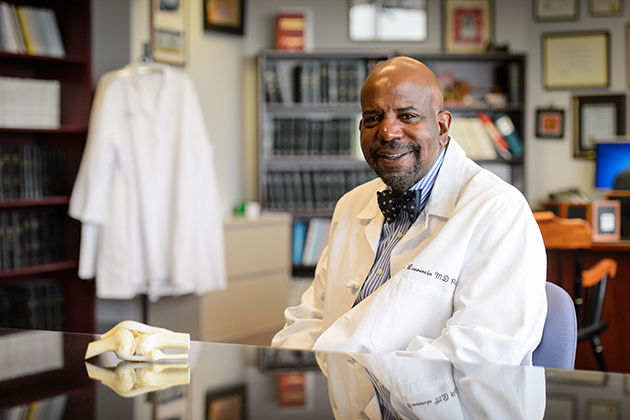 Cato Laurencin at his office at UConn Health in Farmington. (Peter Morenus/UConn Photo)