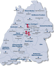 map of Baden wuerttemberg