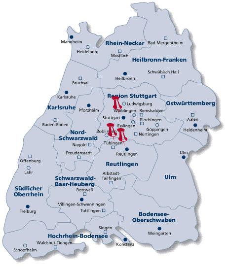 map of Baden wuerttemberg