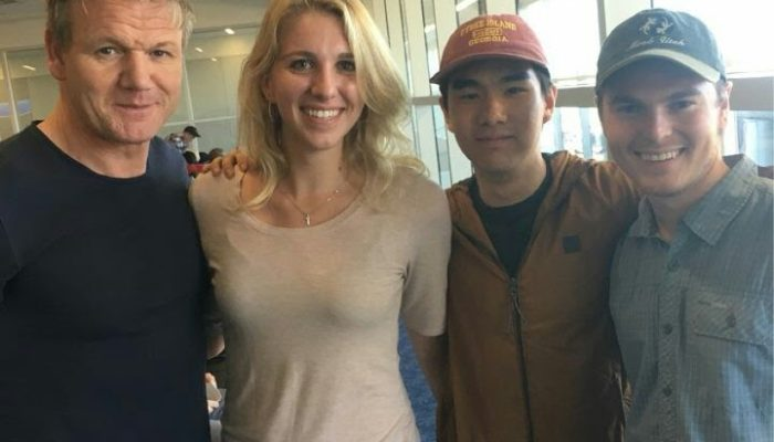 Students meet Gordon Ramsay during a layover in Dallas Fortworth Airport