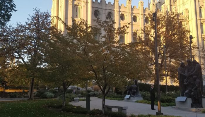 Students visited Temple Square during their last night in Salt Lake City.