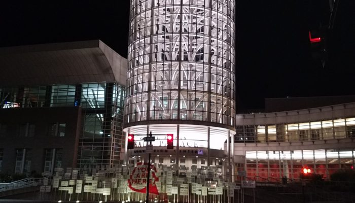 Outside the convention center at night
