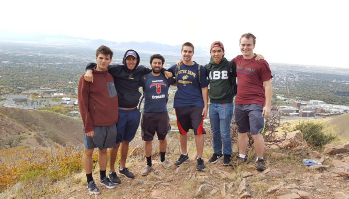 Left to right: Kenan Jasevic, Leopoldo Valencia, Mohamad Daeipour, Zachary Quinn, Andrew Nguyen, Asa Army go hiking