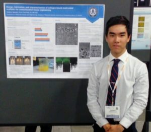 """Andrew Nguyen presents his poster """"Design, fabrication, and characterization of collagen-based multi-zonal scaffolds for osteochondral tissue engineering""""."""