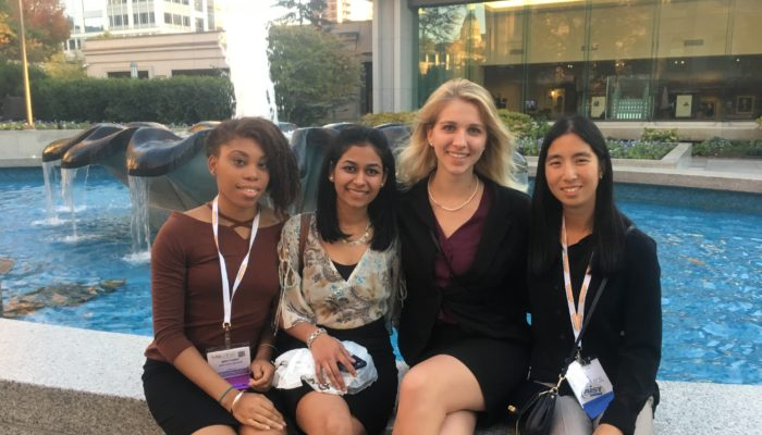 Brittany Nelson, Hetal Patel, Amanda Giroux, Kenna Ritter inside Temple Square.