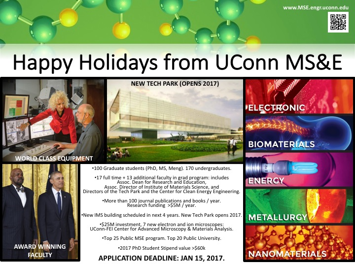 Happy Holidays from UConn MSE slide