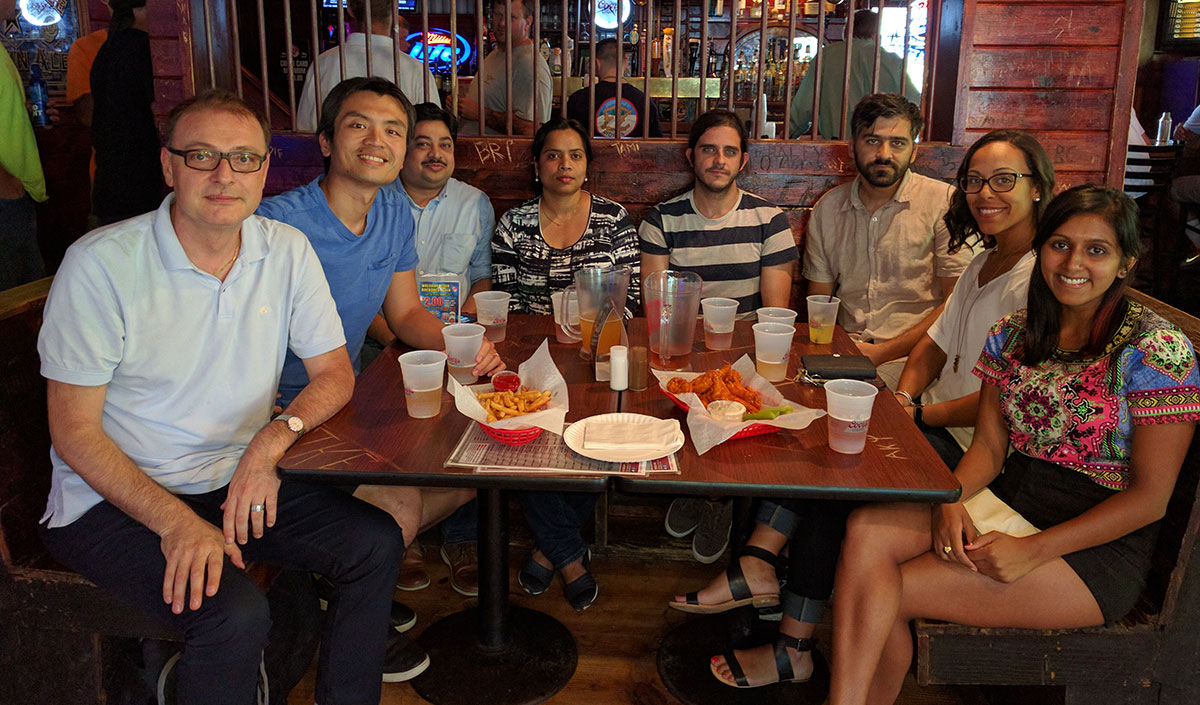 (Left to right): Professor and MSE Department Head S. Pamir Alpay, Ph.D. student Fu-Chang Sun, Post-Doctoral Research Associate Sanjeev K. Nayak, Post-doctoral Research Associate Sanjubala Sahoo, Ph.D. student Mehmet Tumerkan Kesim, Ph.D. student Hamidreza Khassaf, Ph.D. student Yomery Espinal, and  Ph.D. student Tulsi Patel enjoy a dinner.