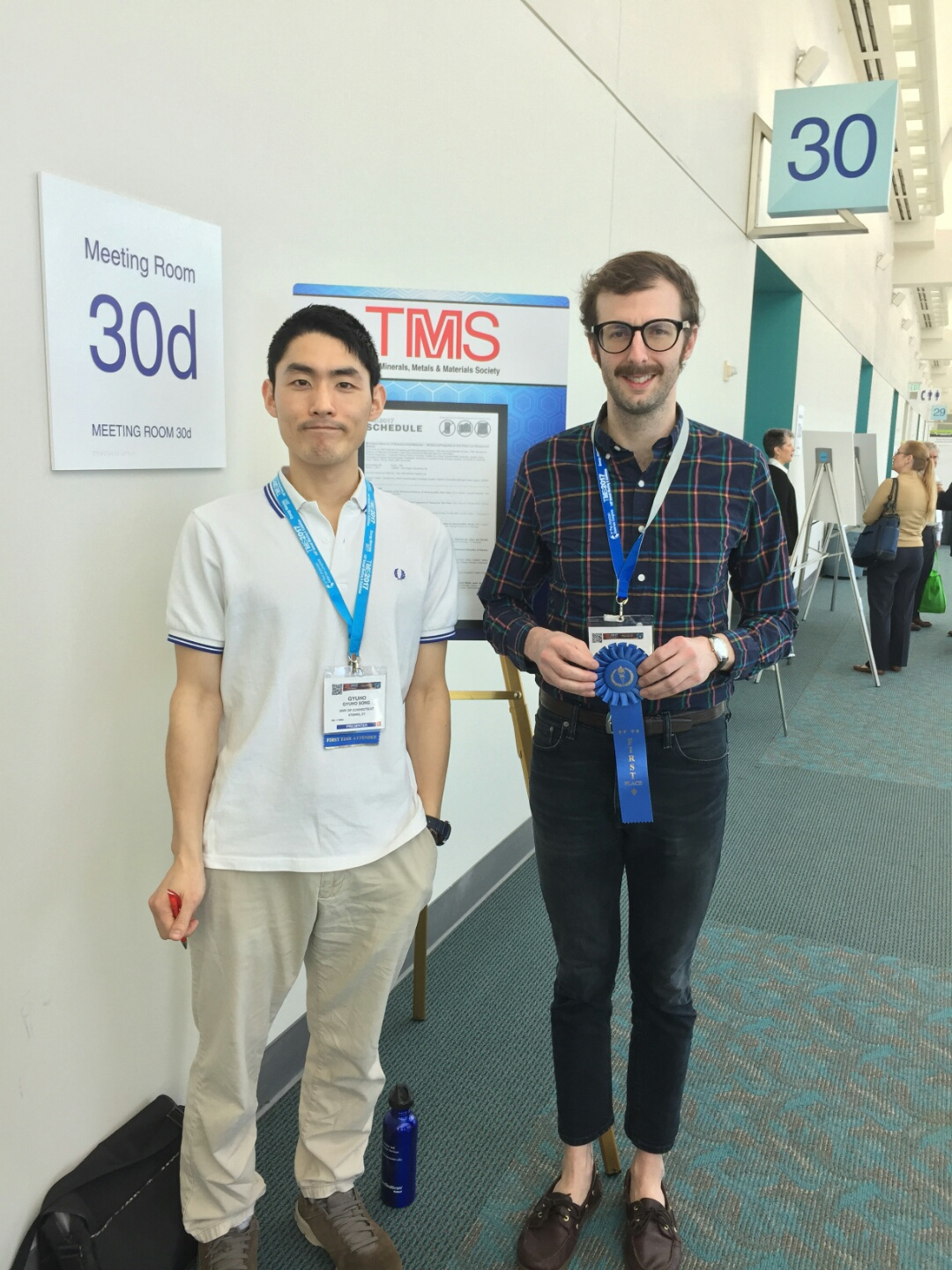 Graduate students Gyuho Song (Left) and Keith Dusoe, of Seok-Woo Lee's lab, who won silver and gold for their posters, respectively.