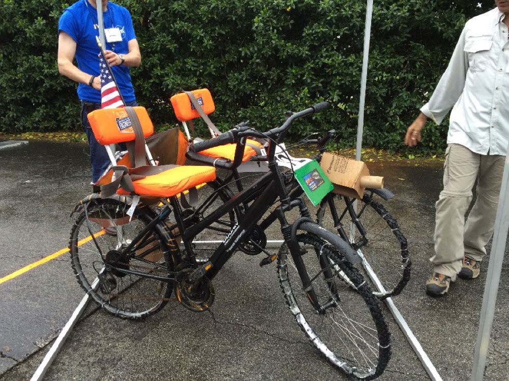 """A """"moon buggy"""" Tulsi helped the students at E.C. Goodwin Technical High school build for a NASA competition."""