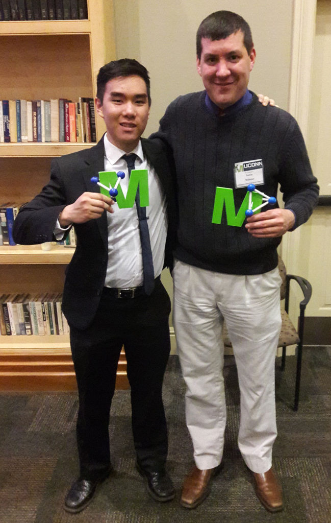 Andrew Nguyen (left) and Justin Webster both donated money earned from participating in Materials Science and Technology Competitions.