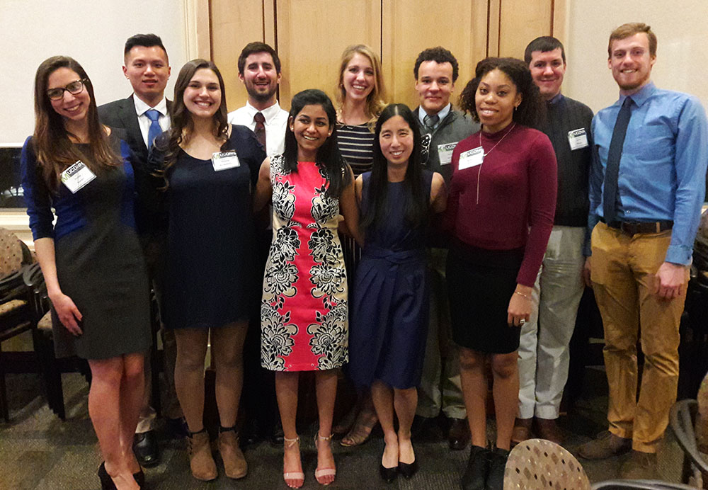 All 2015-2016 and 2016-2017 UCMA Officers.( Left to right) Jordan Kovacs, Yanghuang (Bert) Lu, Victoria Reichelderfer, Ryan Chapman, Hetal Patel, Amanda Giroux, Kenna Ritter, Jordan Gomes, Brittany Nelson, Justin Webster, Zachary Thatcher.