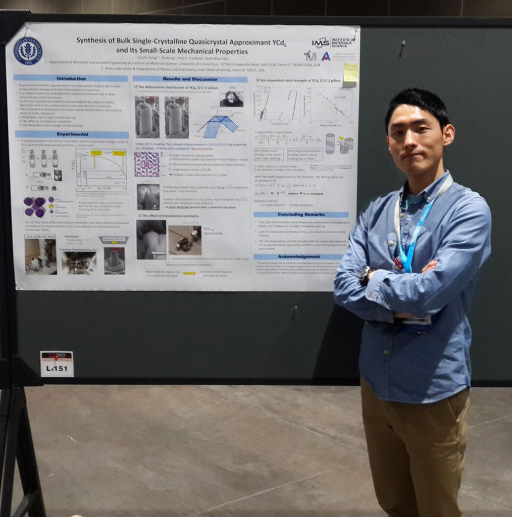 "Gyuho Song presents his poster entitled ""Synthesis of Bulk Single Crystalline Quasicrystal Approximent YCd6 and its Small-scale Mechanical Properties."" at The Minerals, Metals and Materials Society 2017 Meeting."