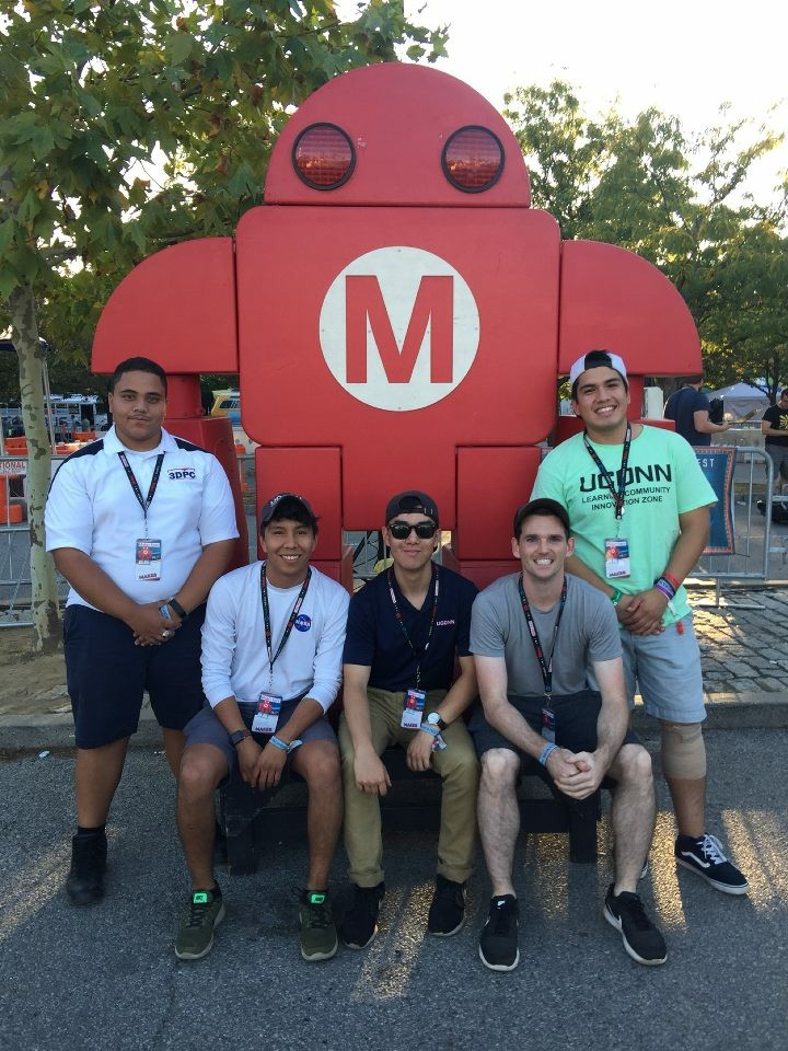Francis Almonte, Zane Grady, Andrew Nguyen, Adam Wentworth, and Jason Santivanez (senior MSEs) attended maker faire to showcase last year's NASA sponsored capstone project and introduce the extension of the project to the public.