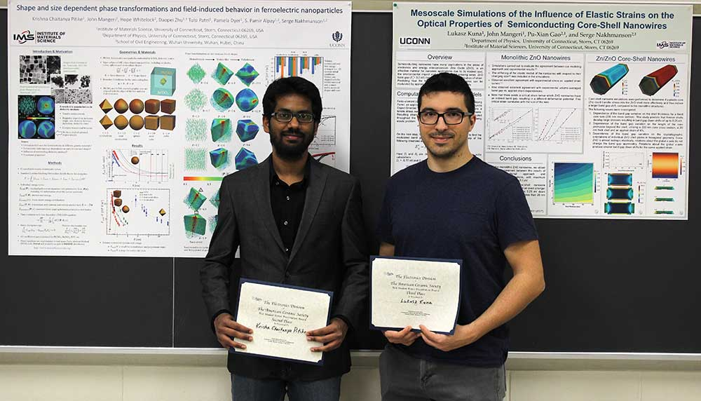 Krishna (left) and Lukasz (right) posing in front of their EAM-2018 award winning posters.