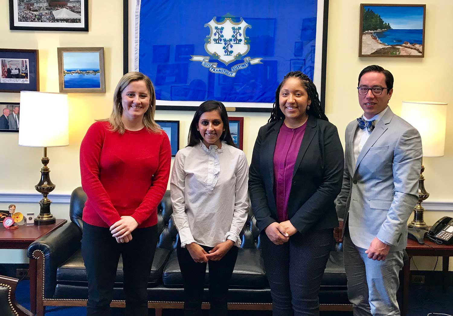 UConn graduate students with Congressman Courtney's legislative director in Washington D.C. (left to right) Alexa Combelic, Tulsi Patel, Tanisha Williams, Manuel Rivas)