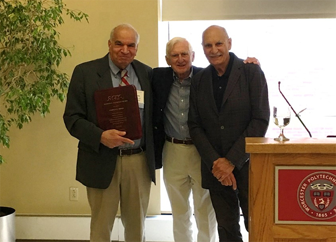 Merton C. Flemings Award presented to Professor Harold D. Brody (left) by Professor Merton C. Flemings of MIT (center), with Professor Diran Apelian of Worcester Polytechnic Institute and founding Director of ACRC (right)