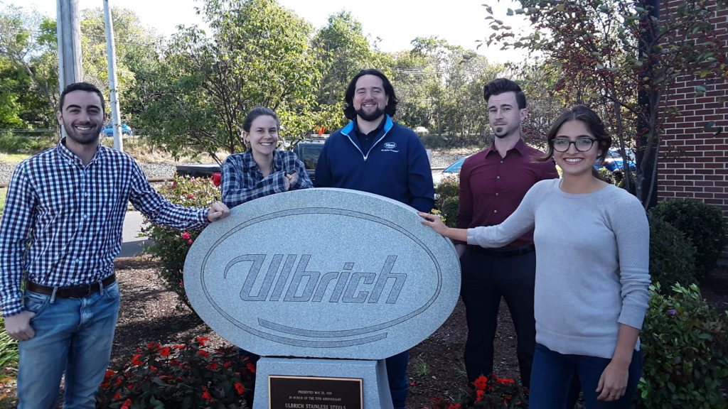 The UConn MSE Graduates in front of Ulbrich Steel's Wallingford Facility. From the left: Samuel Guerra, Allie Kelley, Keith Grayeb, Sean Ketchum, and Samantha Brantley