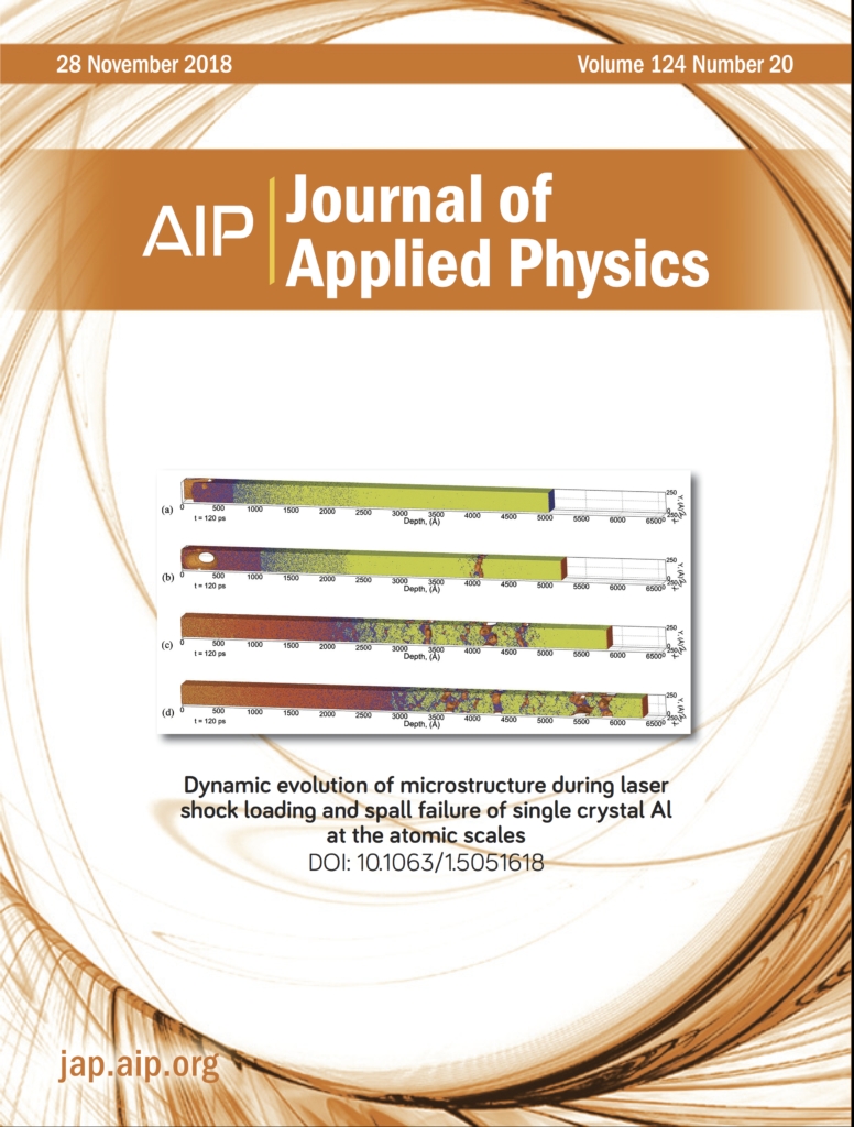 "Sergey's research titled ""Dynamic Evolution of Microstructure During Laser Shock Loading and Spall Failure of Single Crystal Al at the Atomic Scales"" featured on the cover of the Journal of Applied Physics."