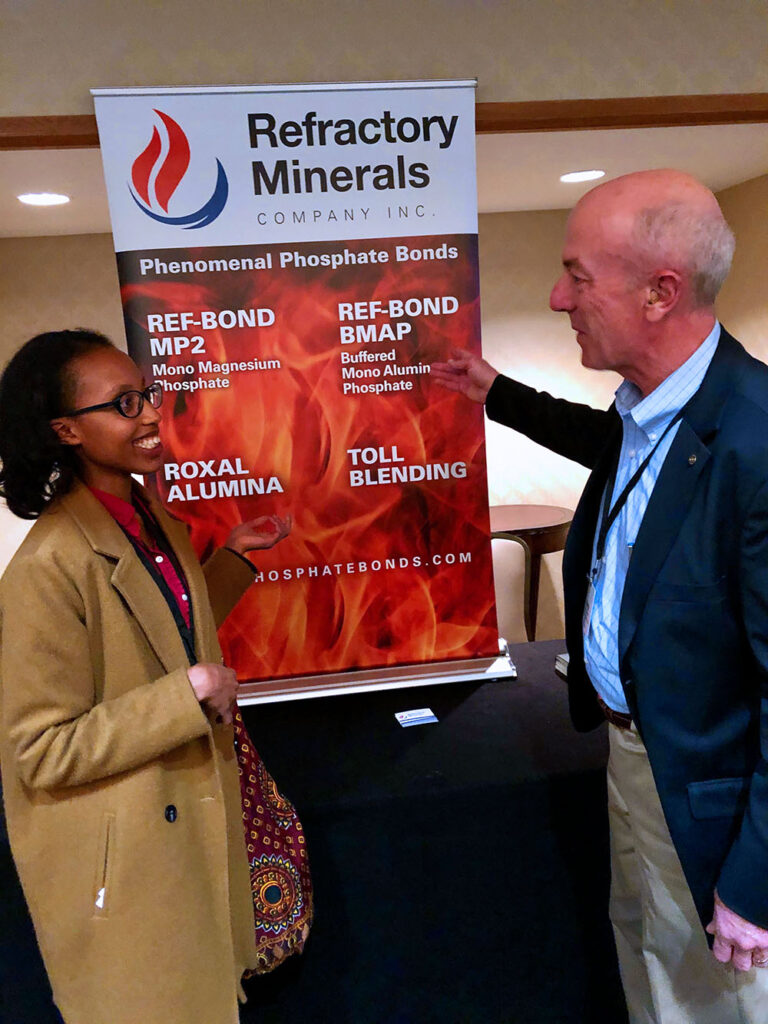 Sharon meets George Gower (President of Refractory Minerals Inc.), to discuss the raw materials on the banner which his company supplies.
