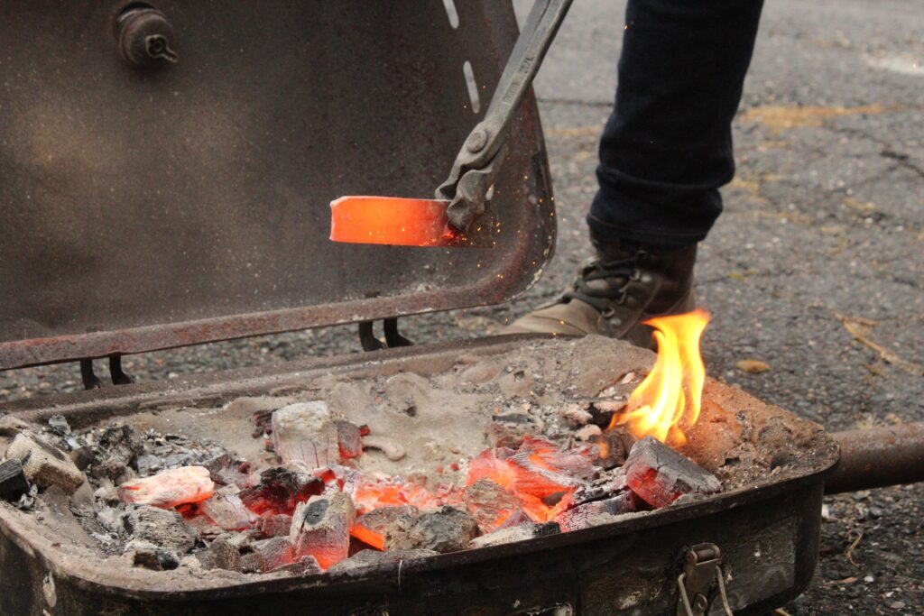 Sam built a homemade forge using an old grill and some tricks he learned from the MSE program, and from YouTube.