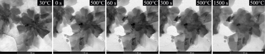 Sequence of bright field scanning electron microscopy images acquired during in situ heating of a quasi-crystalline dispersoid in an A1 matrix to 500°C for 30 min.