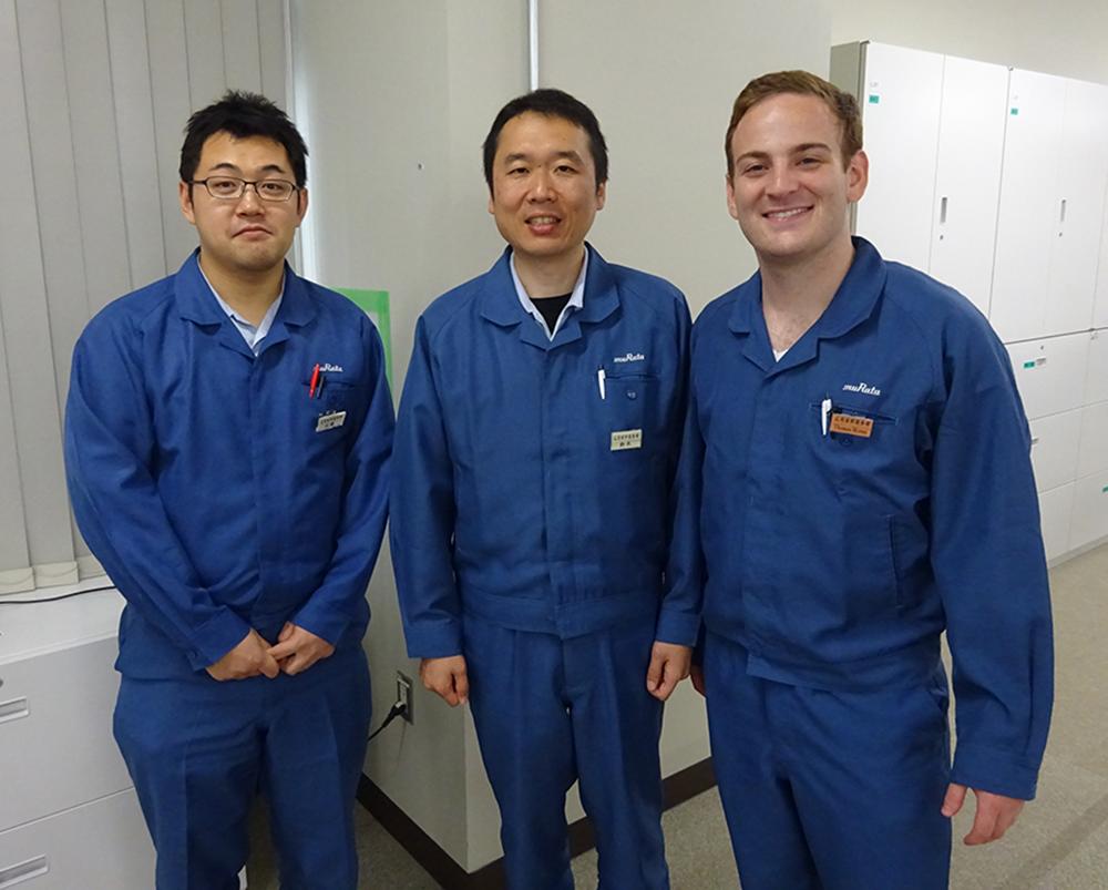 (Left to right) Hiroyuki Kondo, Keigo Suzuki, and Thomas Moran. Kondo worked with Moran on the vacuum AFM system while Suzuki was Moran's host.