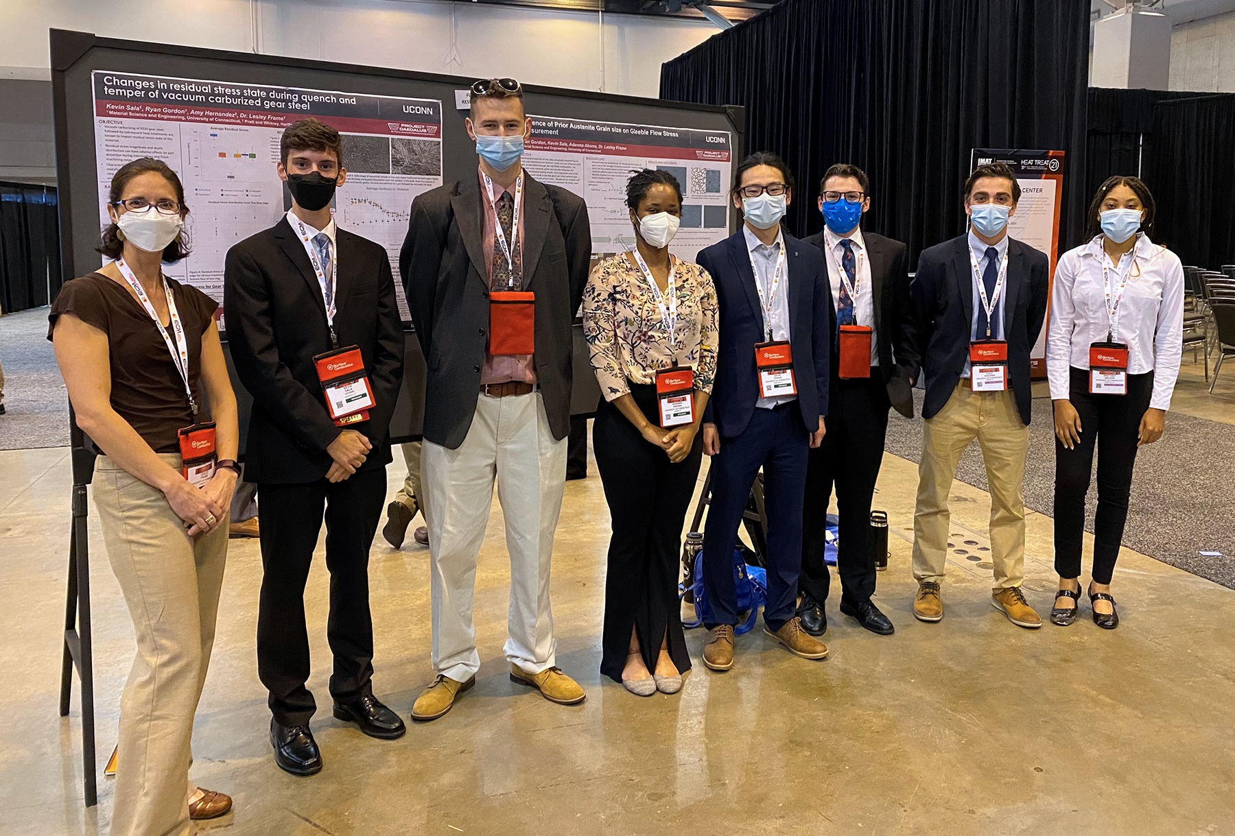 photo of Professor Frame and her students at the 2021 Heat Treat Conference